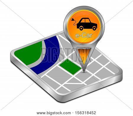 orange Map pointer with e-Car - 3D illustration