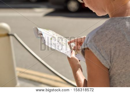 Woman Watching The City Map