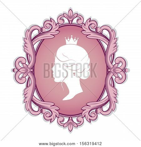 Elegance pink cameo with profile silhouette of a princess in a frame. Isolated on white background. Vector illustrations.