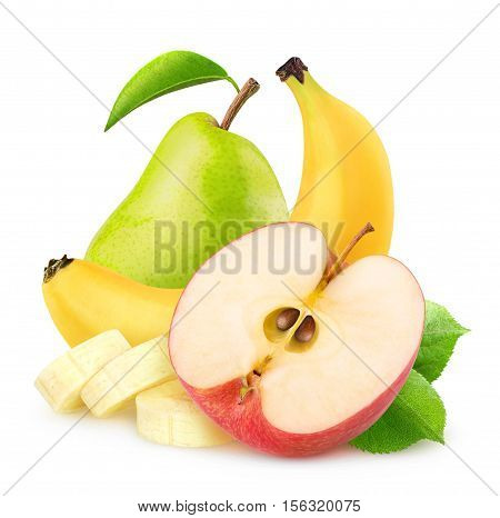 Isolated Apple, Banana And Pear