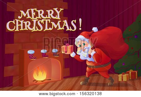 Santa claus putting christmas gift into sock hanging near fireplace. Christmas interior with fireplace, christmas tree and santa claus cartoon character. Vector illustration