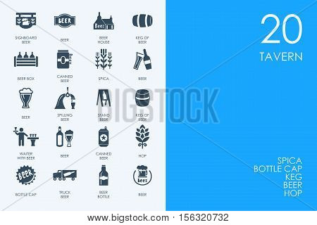 BLUE HAMSTER Library tavern vector set of modern simple icons