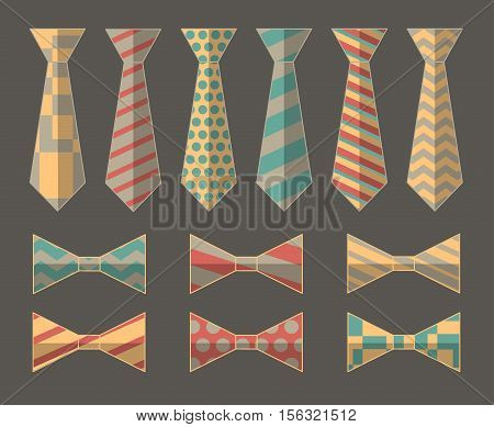Set of Vector Ties and Bow Ties. Vector illustration, EPS 10