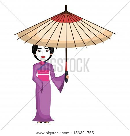 beautiful geisha japan character vector illustration design