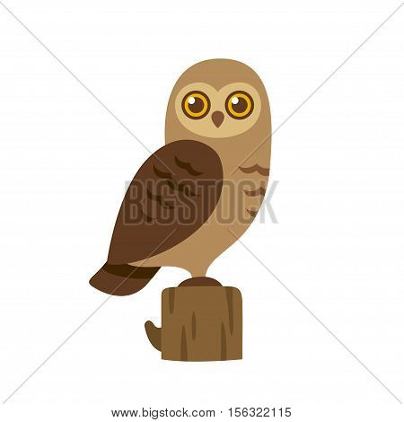Cartoon owl illustration. Simple flat vector drawing of brown owl on stump.