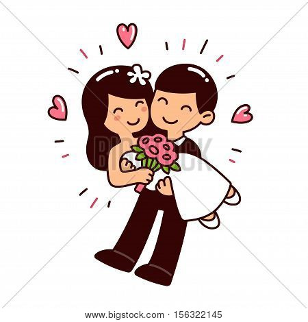 Cute Asian wedding couple in Western style clothes. Cartoon vector illustration.