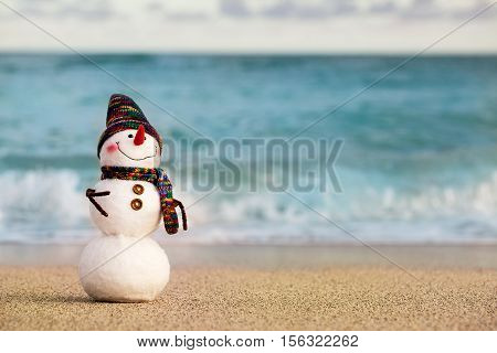 Smiling snowman on the sea beach. Holiday concept can be used for New Year and Christmas Cards.