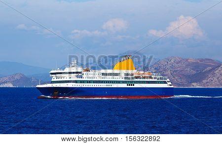 view of passenger ferry boat in open waters in Greece