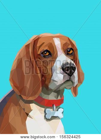 Triangle low poly portrait of beagle dog. Animal portrait. Vector illustration eps 10