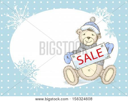 Winter pastel colored sale advertising background with toy bear in sweater, hat and mittens and empty place for your text