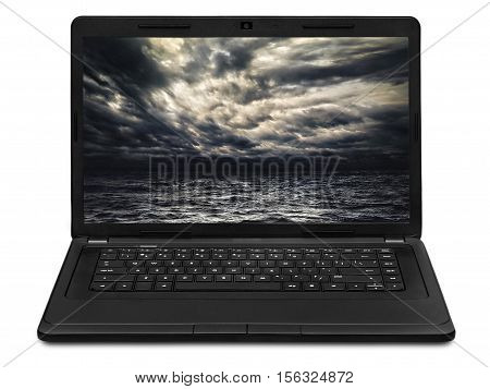 the stormy sea landscape on laptop screen