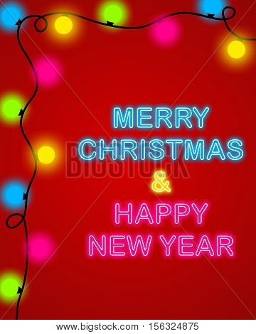 Merry Christmas And Happy New Year Neon Style Background