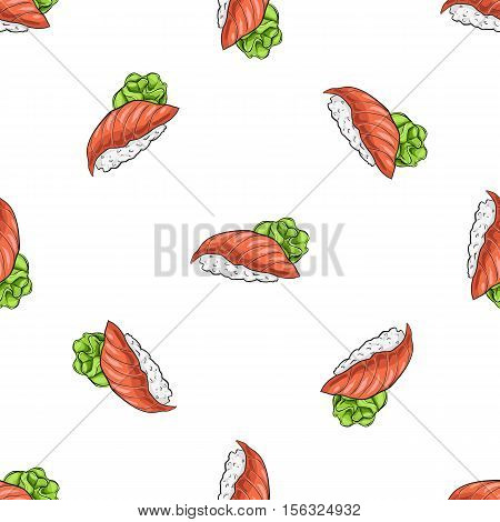 Vector seamless pattern Sushi nigiri sake, color