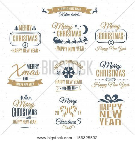 Christmas emblem elements vector set gold color style with santa and deer christmas ball snowflake gift sweet on holiday background. Christmas labels . Happy New Year. Christmas decoration element