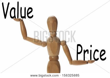 Mannequin measuring the importance of value versus price on the palms of the hands