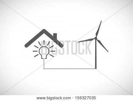 wind turbine generator with lightbulb under roof - business concept icon