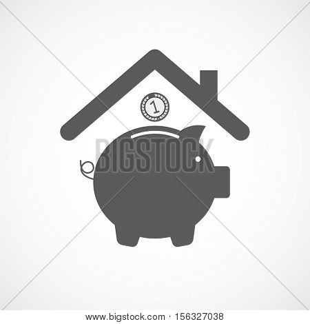 pig money bank with coin under roof icon