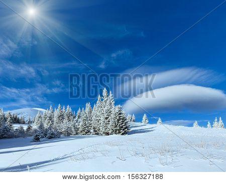 Morning Winter Mountain Sunshiny Landscape