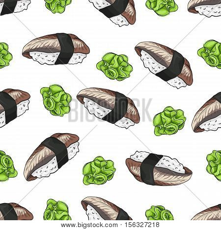 Vector seamless pattern unagi nigiri Sushi with wasabi, color