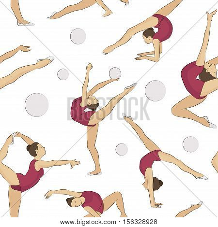 Woman stretching, gymnastic, exercises, sport pattern. Pilates, jumping, dancing Girl doing exercises Girl stretching in different poses