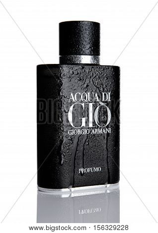 LONDONUK - NOVEMBER 11 2016: Giorgio Armani Acqua di Gio fragrance for men is one of the evergreen bestselling perfumes worldwide on white