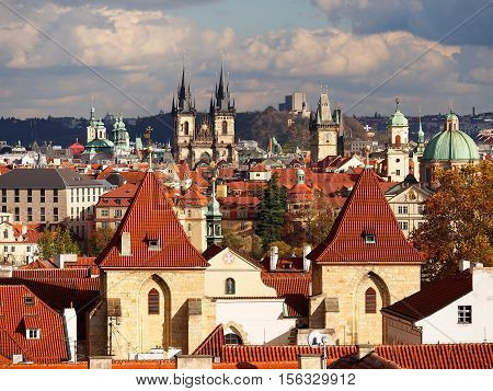 Scenic architecture old town red roofs and Tyn church