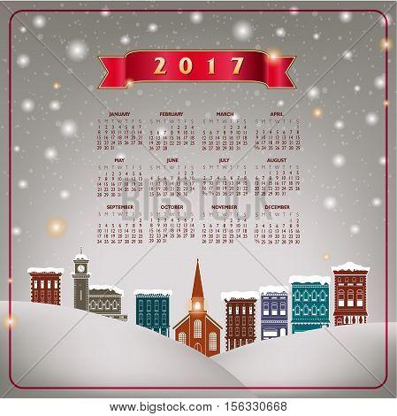 A 2017 quaint Christmas village calendar for print or web use