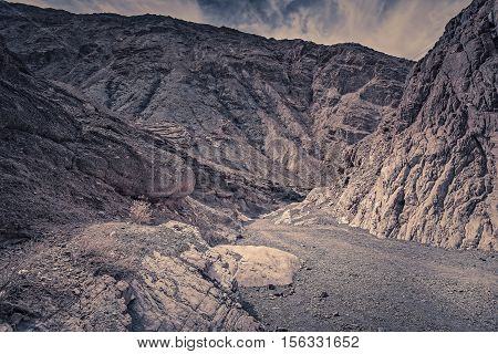 View of Death Valley California at sunset from Mosaic Canyon.