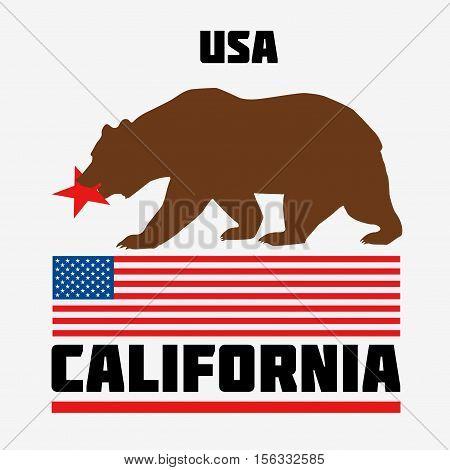 State of California flag. USA. Flat vector illustration