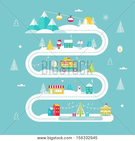 Christmas and Winter Holidays Road Map. Lights, City, Market, Mountain Cable Cars and Santa. Vector Illustration Flat Design