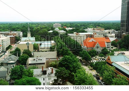 high angle view of Raleigh downtown for design