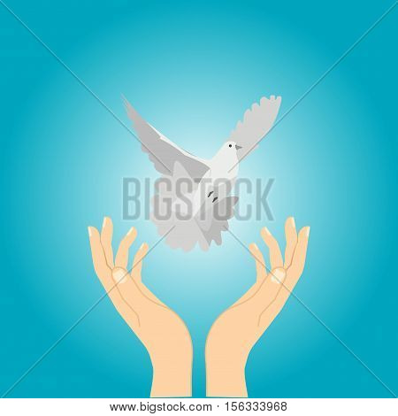 Hands release dove of peace. Colorful picture on blue background. Flat vector illustration
