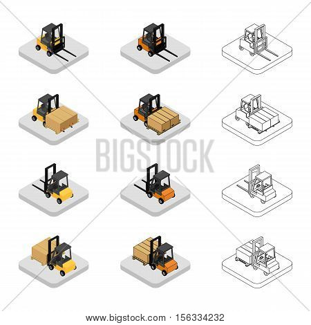 vector illustration. Set of isometric icons of the forklift. Loader with pallet with boxes. Colorful and outline. 3D.