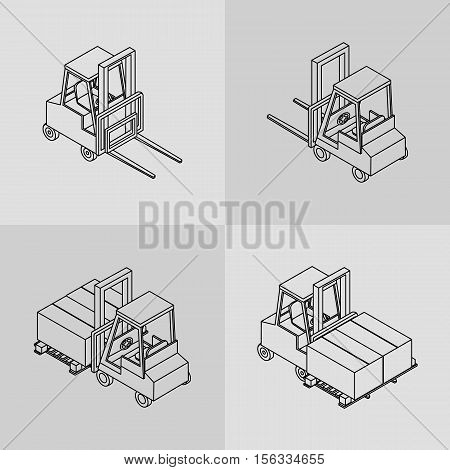 vector illustration. Set of isometric icons of the forklift. Loader with pallet with boxes. contour outline. 3D.