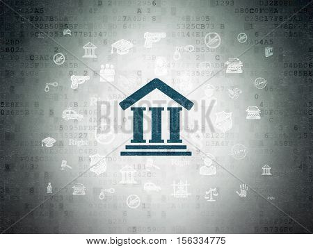 Law concept: Painted blue Courthouse icon on Digital Data Paper background with  Hand Drawn Law Icons