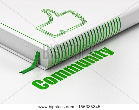 Social network concept: closed book with Green Thumb Up icon and text Community on floor, white background, 3D rendering