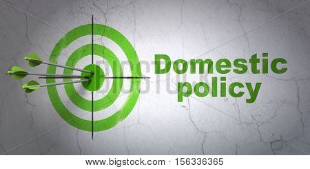 Success politics concept: arrows hitting the center of target, Green Domestic Policy on wall background, 3D rendering