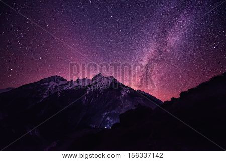Rich violet star sky in Nepal mountains