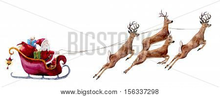 Watercolor illustration with Santa Claus and deers. Hand painted Santa with gift bags and boxes rides in sleigh pulled by reindeer. Christmas print isolated on white background.