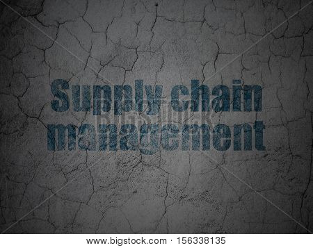 Advertising concept: Blue Supply Chain Management on grunge textured concrete wall background