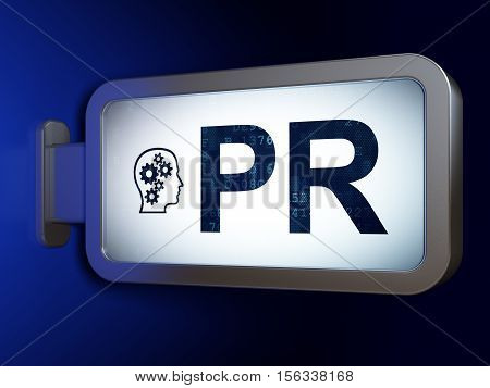 Marketing concept: PR and Head With Gears on advertising billboard background, 3D rendering