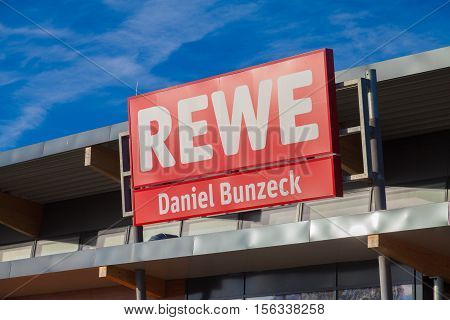 BURG / GERMANY - NOVEMBER 13 2016: subsidiary from german supermarket chain REWE. The REWE Group is a German diversified retail and tourism co-operative group based in Cologne Germany.