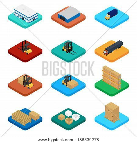 Vector illustration. Set of isometric icons storage packaging and delivery. Warehouse truck forklift pallets with boxes.