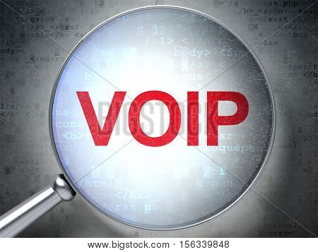 Web development concept: magnifying optical glass with words VOIP on digital background, 3D rendering