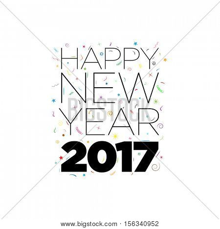 Black Happy New Year 2017 text with confetti elements on white background. Vector typographic design.
