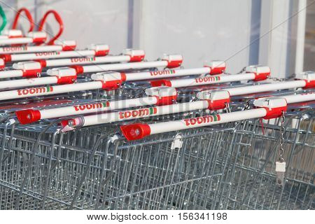 BURG / GERMANY - NOVEMBER 13 2016: Shopping carts from toom hardware store. toom is one of the largest German DIY retailer and part of the REWE Group.