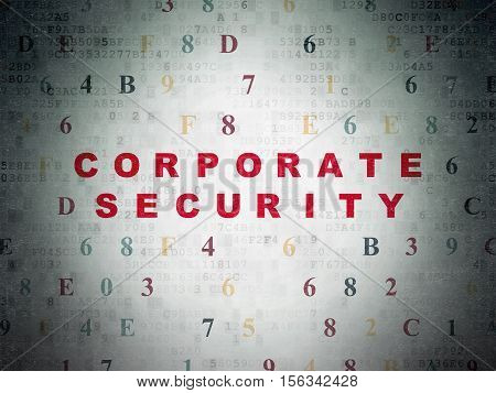 Security concept: Painted red text Corporate Security on Digital Data Paper background with Hexadecimal Code