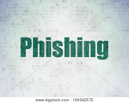 Security concept: Painted green word Phishing on Digital Data Paper background