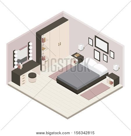 Gray isometric bedroom interior is fully renovated one bedroom furnished with furniture vector illustration