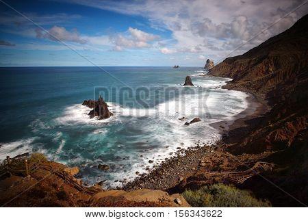 Wild ocean Benijo beach in Tenerife, Canary islands, Spain